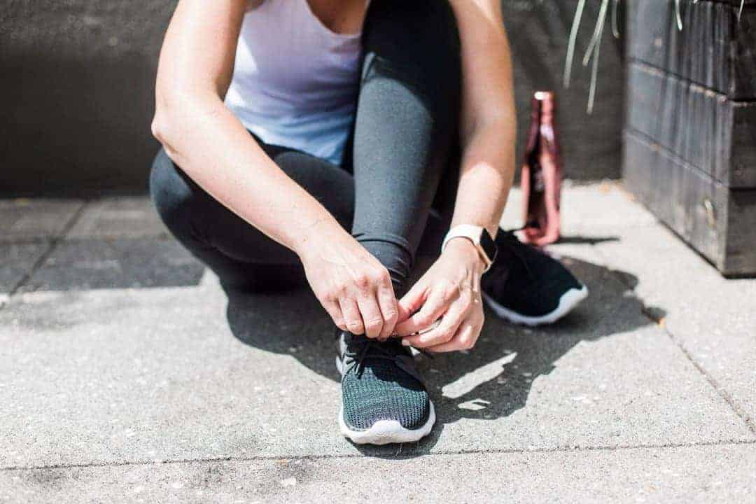 Tying shoes before running