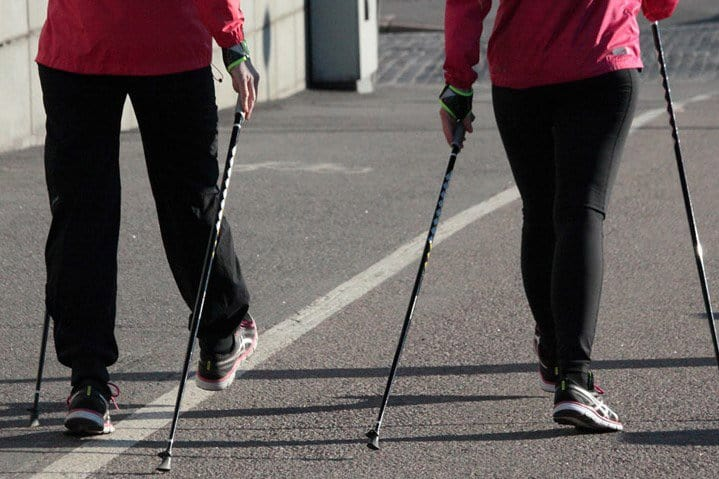 Fitness walking with nordic poles
