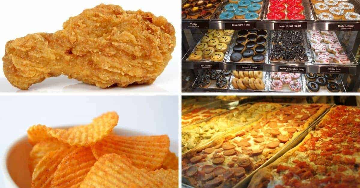 processed junk food fried chicken donuts potato chips pizza