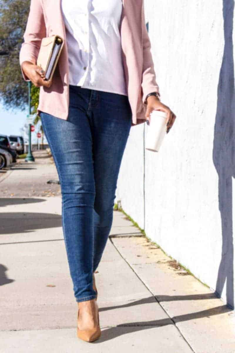 woman in jeans taking a walk