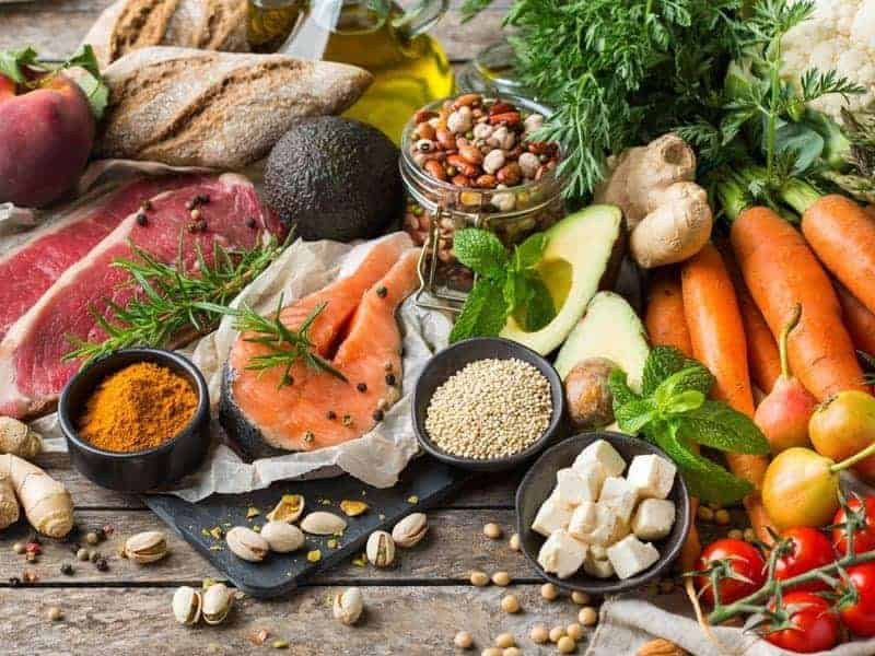 Balanced, healthy food with fruits, vegetables, lean meats, and whole grains